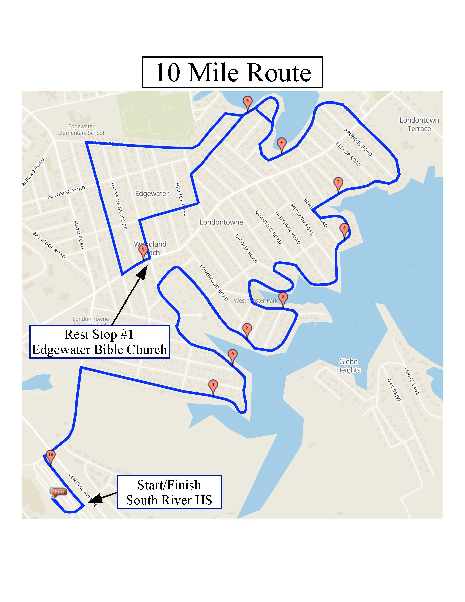 10 mile route Promise Ride
